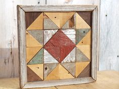 mosaic geometric quilt block rustic wall decor  barn quilt