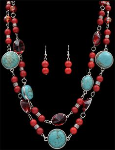 Silver Strike Turquoise Necklace and Earring Set  AT COWGIRL BLONDIE'S WESTERN BOUTIQUE