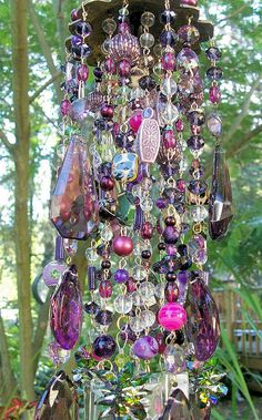 Purple Dreams Antique Crystal Wind Chime by sheriscrystals on Etsy by meerystar Crystal Wind Chimes, Diy Wind Chimes, Sun Catchers, Dream Catchers, Beaded Curtains, Crystal Design, Mobiles, Yard Art, Glass Art