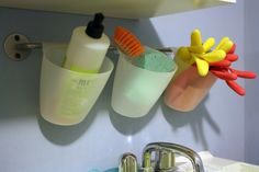 Some beautiful organization ideas for the home. This is perfect for the laundry room sink!
