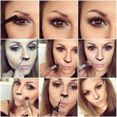 How to recreate Hannah's lioness makeup look for halloween with this step-by-step tutorial Cat Costume Makeup, Sexy Cat Costume, Lion Halloween Costume, Cat Halloween Makeup, Lioness Costume Diy, Halloween Make Up Cat, Halloween Masker, Simple Halloween Costumes, Fox Costume