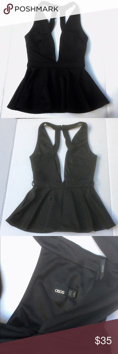 NWOT Asos Peplum Top Black peplum deep v neck top by Asos. Size 4. Never worn, I just removed the tag. Very flattering sexy style! Absolutely perfect for girls night out or a date night! Feel free to ask questions! ASOS Tops