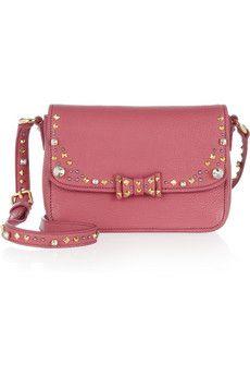 8df598dc4239 Miu Miu - Embellished leather shoulder bag