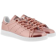 adidas Originals Sneakers - Stan Smith W Sneaker Copper Metallic/White... ($100) ❤ liked on Polyvore featuring shoes, sneakers, brown, white shoes, metallic sneakers, metallic flat shoes, brown sneakers and striped sneakers