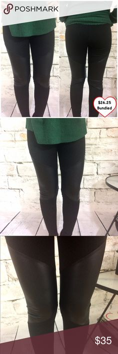 Faux Leather Paneled Leggings Closet fav! Really comfy. Thick material stretchy. Faux leather on the panels. Hard to photograph but they really do look great on! Fits standard sizes and measurements.  •This would look great with any of the items shown in the last pic that are also for sale!  •This item is available! Pants Leggings
