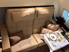 Etihad's brand new Airbus A-380-800 - The Residence Dining. Dec 2014.