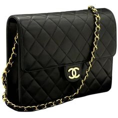 CHANEL Chain Shoulder Bag Clutch Black Quilted Flap Lambskin ($1,505) ❤ liked on Polyvore featuring bags, handbags, clutches, bolsas, carteras, chanel, flap purse, quilted purses, chain handle handbags and lambskin handbags