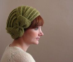 Light Green Crochet Beret with Bow. Lovely pattern. Very 1920s/Great Gatsby inspired.