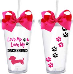 Love Me Love My Dachshund - Acrylic Double Wall Tumbler With Straw