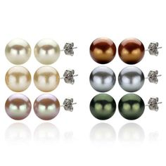 6 Pairs of Sterling Silver 8-8.5mm Dyed Multi-colors Freshwater Cultured Pearl Stud Earrings -- You can find more details by visiting the image link.