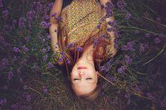 Menina, Lavanda, Dormindo, Felicidade, Purple, Flores