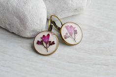 Earrings. Earrings with real flowers in resin. terrarium