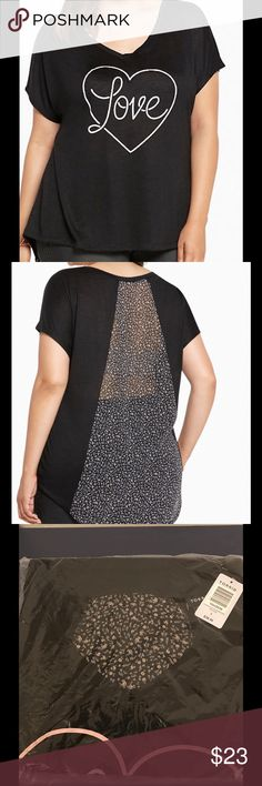 """Love Heart Tee This black slub knit dolman top looks great with the sweet """"love"""" heart and a floral print back inset. Polyester/Rayon torrid Tops Tees - Short Sleeve"""