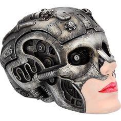 Steampunk Art Ornament Cyber Beauty Grey Skull Head Figure Gothic Gifts Figurine #astrabluegiftware #steampunkart #steampunk #skullart #skull