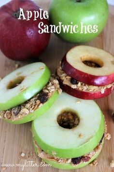 Healthy Snacks - Apple Sandwiches - MyLitter - Healthy snacks do not have to expensive or lack flavor. These apple sandwiches are delicious and easy. Healthy School Snacks, After School Snacks, Healthy Kids, Healthy Eating, Gourmet Recipes, Snack Recipes, Healthy Recipes, Healthy Meals, Healthy Food