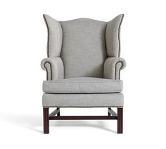 Thatcher Upholstered Armchair, Polyester Wrap Cushions, Twill Cadet Navy | Pottery Barn
