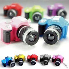 LOCOMO Cute Mini Digital Single Lens Reflex DSLR Camera Style LED Flash Light Torch Shutter Sound Keychain