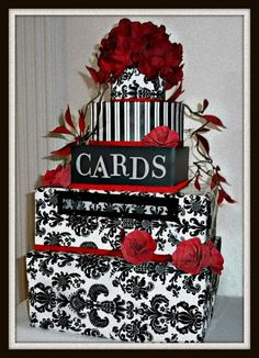 Classic Red, Black and White Wedding Card box. Note: Best when placed on the gift table.