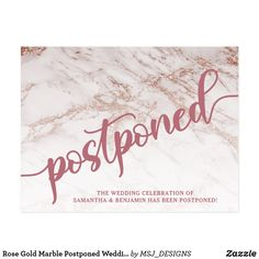 Shop Rose Gold Marble Postponed Wedding Announcement Postcard created by MSJ_DESIGNS. Personalize it with photos & text or purchase as is! Event Planning, Wedding Planning, Rose Gold Marble, Funny Wedding Cards, Wedding Postcard, Wedding Announcements, Postcard Invitation, Postcard Size, Wedding Stationary