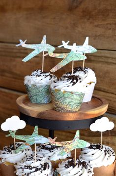 Vintage Map Airplane Cupcake Toppers, 12 pieces