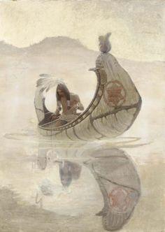 """N.C. WYETH   Hiawatha Fishing    Oil on Canvas   37"""" x 26.75"""""""