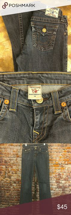 "True Religion Denim Jeans Girls 14 Excellent condition girls size 14 True Religion blue jeans. Two flap pocket back with logo embroidered.  5 pocket styling. Joey girls jeans. 25"" waist, 8"" rise,  32"" inseam. True Religion Bottoms Jeans"