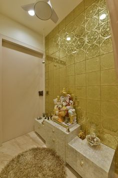 Simple Tricks to Build a Beautiful Pooja Room for Indian Homes Indian Home Interior, Indian Interiors, Painted Bedside Tables, Temple Room, Temple Design For Home, Ganpati Decoration At Home, Mandir Design, Modern Exterior House Designs, Pooja Room Door Design