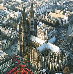 Koln (Cologne) Cathedral An historical landmark, this massive cathedral towers over the city of Cologne (Koln). The construction of the Cologne Cathedral took place from the 13th through 19th centuries and is a wonderful example of Gothic architecture. Amazingly, the cathedral remained largely undamaged during World War II.