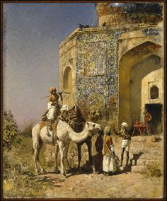 The Old Blue-Tiled Mosque Outside of Delhi, India (oil on canvas)  by Edwin Lord Weeks  1885