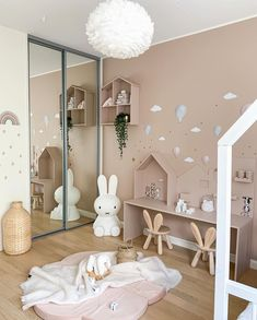 Your new room for kids. What a pretty little girl's room by Featuring large Miffy lamp and Eos light s Kids Bedroom Designs, Playroom Design, Baby Room Design, Home Room Design, Childrens Room Decor, Baby Room Decor, Scandinavian Kids Rooms, Interior Room Decoration, Room Interior
