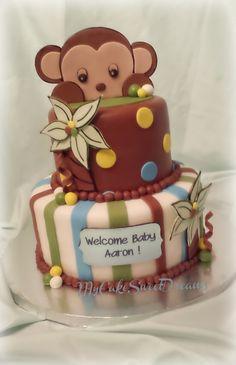 Peek-a-Boo Monkey Baby Shower Cake - Chocolate Cake