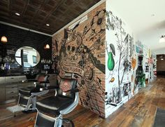 Kiehl's Spa 1851| NYC, for men. They have a cool, antique apothecary look and offer an amazing array of products and services.  I especially love the antique wood floors coupled with the tin ceiling tiles and graffiti.