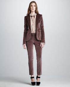 Hutton Velvet Blazer, Sutton Lace Top & Ian Velvet Cigarette Pants by Rachel Zoe at Neiman Marcus.