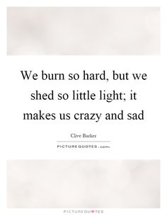 We burn so hard, but we shed so little light; it makes us crazy and sad. Picture Quotes.