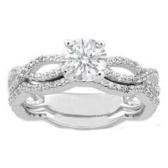 Floating Diamond Setting Engagement Ring And Band Set 16
