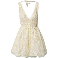 Rut&Circle Star Lina Dress (110 CAD) ❤ liked on Polyvore featuring dresses, vestidos, short dresses, sukienki, champagne, party dresses, womens-fashion, short champagne dress, champagne cocktail dress and low cut dresses