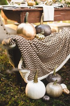 20 Pumpkin Decor Ideas: Metallic gold, silver, gray and white painted pumpkin arrangement {JOPHOTO}