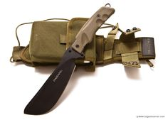 Fox Parang Bushcraft Jungle Knife model FX-0107153. A survival knife and heavy blade chopping tool. The knife comes with a MOLLE compatible cordura sheath, and a tin survival kit that can be attached to the front of the sheath. Survival kit may need an upgrade? Blade Length 6.7″ and a blade thickness of 6 mm.