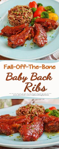 Fall-Off-The-Bone Baby Back Ribs served with Rice Blend and Veggies! #Delicious #Easy #Dinner #Follow #Homecooking  If you like my recipes, please Follow Me - http://www.pinterest.com/annavil/  ,  Instagram - https://instagram.com/craftycookingbyanna/   and Join Me - https://www.facebook.com/craftycookingbyAnna  Thank you!!!