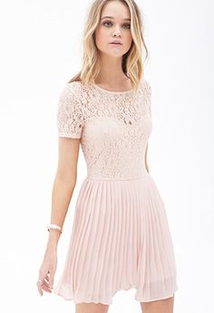 Pleated Lace Combo Dress   FOREVER21 - 2000067230