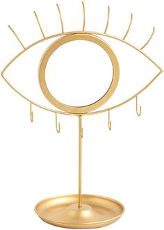 Amazon.com: CoolXuan Makeup Mirror Eye Shaped Vanity Mirror with Jewelry Tray Earrings Holder Dresser Tabletop Detachable Cosmetic Mirror,Golden Boho Decorative: Kitchen & Dining Jewelry Dresser, Jewelry Tray, Jewelry Holder, Eye Jewelry, Round Hanging Mirror, Mirror Set, Mirror Room, Mirrors With Chains, Amazon Home Decor