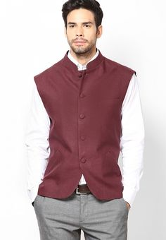 Maroon Classic Fit Ethnic Jacket at $190.00 (24% OFF)