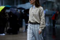 Street Style Photo: Fashion Blogger Gala Gonzalez wearing a Loewe outfit at the Loewe Fall/Winter 2016-2017 fashion show in Paris, France