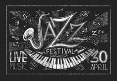 Vector poster of Jazz festival on blackboard.