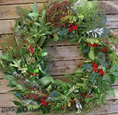 Evergreen wreath with berries, leaves - learn how to make one