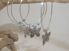 Butterfly Beaded  Wine Glass Charms by SoutheastSecrets on Etsy, $13.00