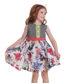 Gray & Coral Floral Maggie Dress - Toddler & Girls