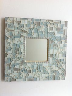 Mosaic Wall Mirror, Square Mosaic Mirror, Mosaic Wall Art, Beach Decor. $38.00, via Etsy.