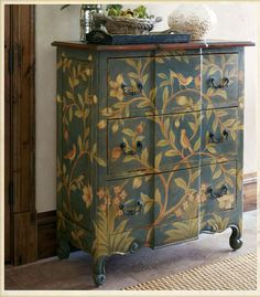 Painted chest with a bird motif from Soft Surroundings