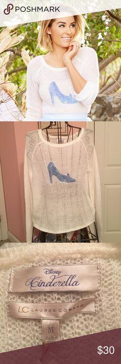Lauren Conrad Cinderella Sweater Cute and Comfy White Sweater! Blue Bedazzled Cinderella Slipper! 👠 Brand New! Never Worn! No Trades! Open to Offers! LC Lauren Conrad Sweaters